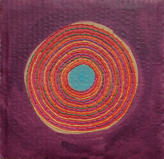 Rainbow colour spiral record drawing