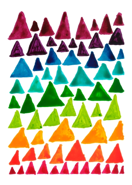 triangles in the colours of the rainbow