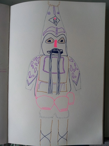 Line drawing of a tribal costume