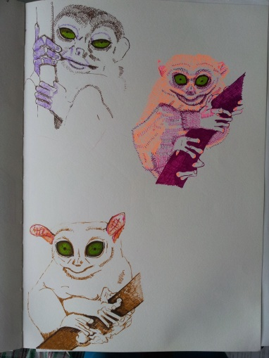 sketches for tarsier brooch