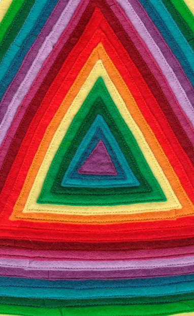 Rainbow textile triangle work